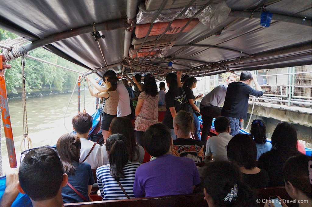 riding a boat taxi in bangkok