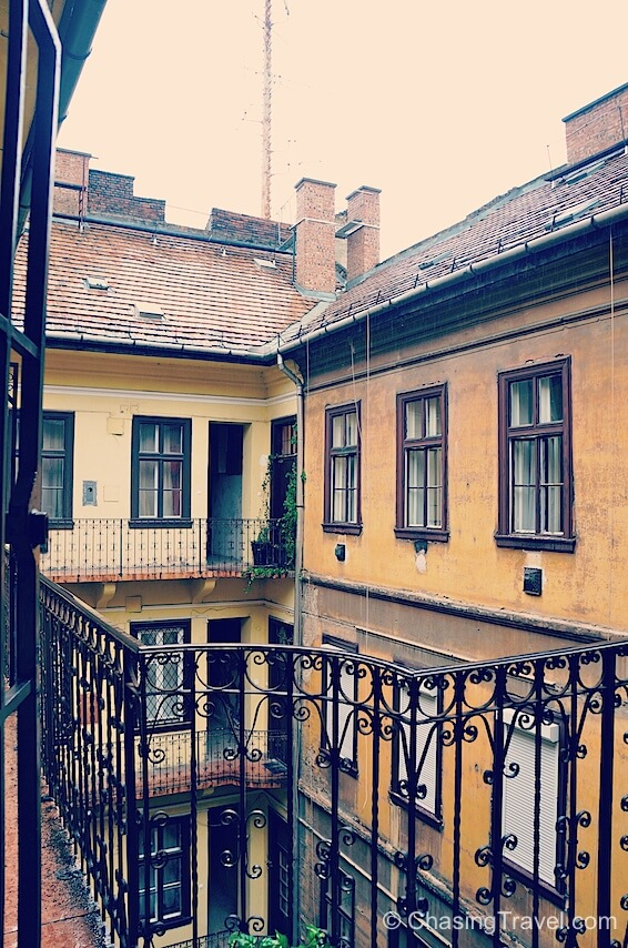 romantic balcony and courtyard in Budapest